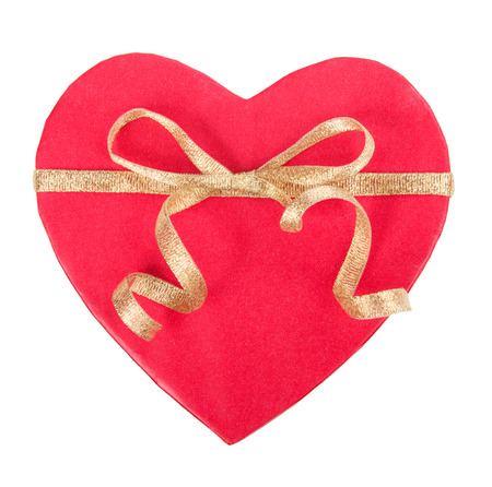 love concepts: Open gift box in heart shape with bow Stock Photo