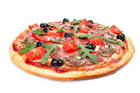 흰색 배경에 고립 된 맛, 맛 피자