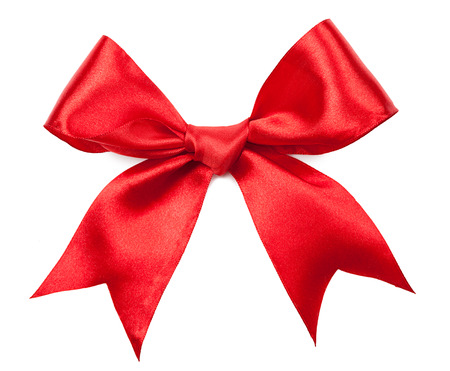 red silk: Beautiful red bow isolated on white background