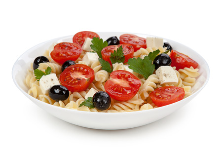 pasta salad: Pasta salad in the plate isolated on white background