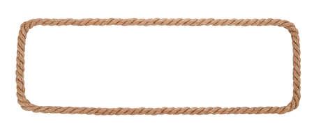 bordi decorativi: Confine corda isolato su sfondo bianco. Archivio Fotografico