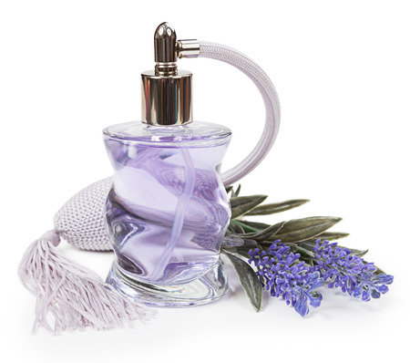 fragrant scents: Perfume in the bottle and lavender pulverizer isolated on white background