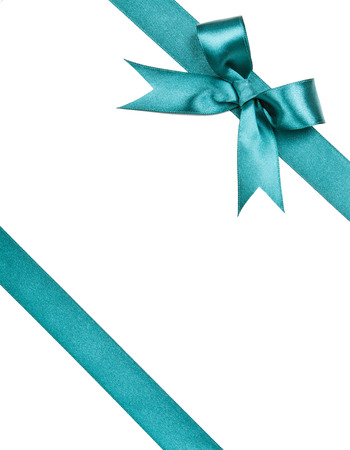 gift wrap: Turquoise bow isolated on white background