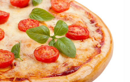 flavorful: Tasty, flavorful pizza isolated on white background