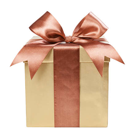 marrón: Caja de oro con regalos y arco marrón