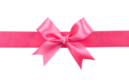 moño rosa: lazo rosa aisladas en blanco Foto de archivo