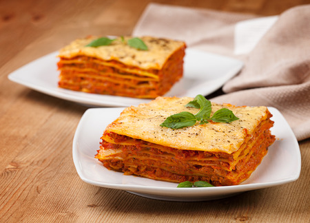 flavorful: Tasty flavorful lasagna on a plate