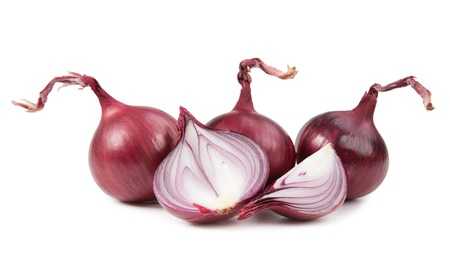 onion slice: Ripe red onion, isolated on white background