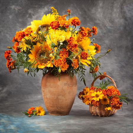 Autumn still life. Flowers on the table