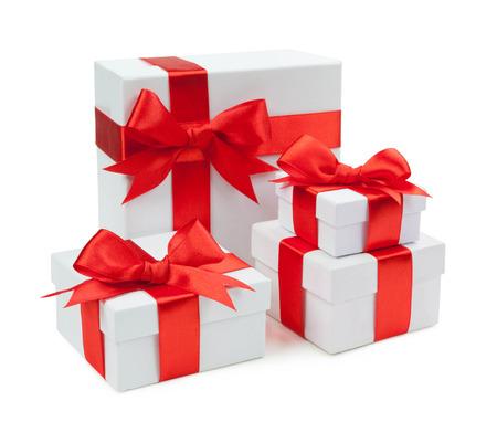 birthday presents: White box, bow and ribbon