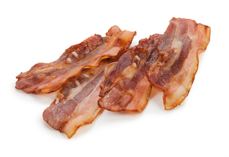 streaky: Grilled fresh bacon isolated on white background.