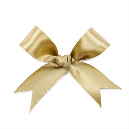moños navideños: Arco de oro aislado en el fondo blanco.