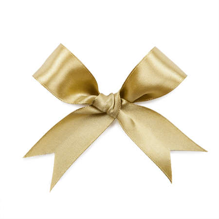 bows: Gold bow isolated on white background.