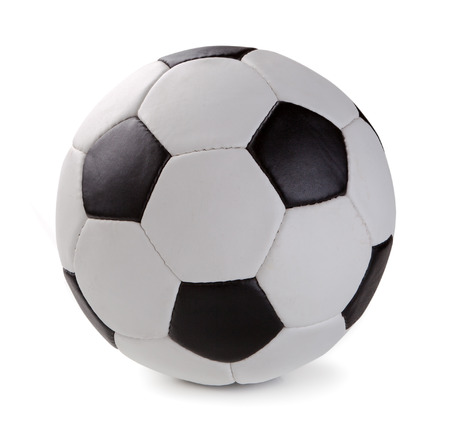 ballon foot: Ballon de soccer isolé sur fond blanc. Banque d'images