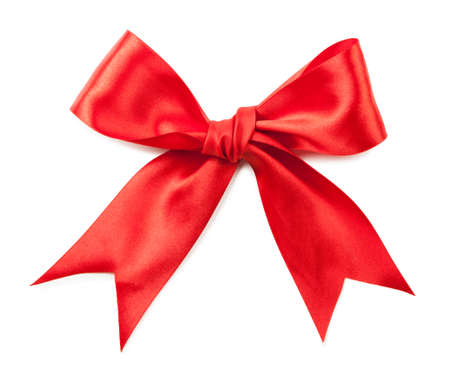 red ribbon bow: Red bow isolated on white background.