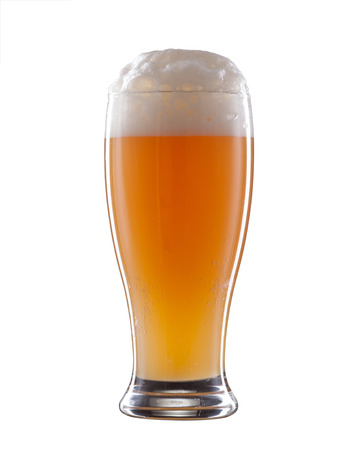 massa: Light unfiltered beer isolated on a white background.