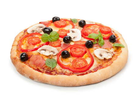 Delicious hot pizza isolated on white background. Stock Photo