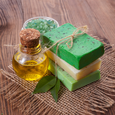 natural soap: Piece of natural soap with oil and herbs