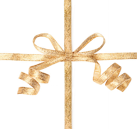 christmas bow: Gold ribbon with bow isolated on a white background Stock Photo