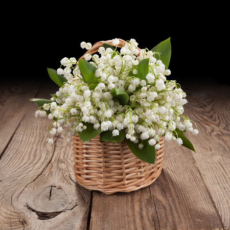 Bouquet of lilies of the valley on the old board Stock Photo