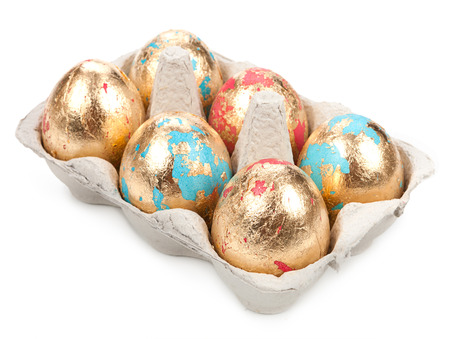 priceless: Gold easter eggs isolated on white background.