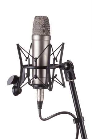 microphone on stage: Microphone isolated on white background.