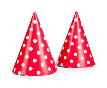 ? ?   ? ?    ? ?   ? ?  ? ?  ? hat: sombrero de fiesta rojo isilated sobre un fondo blanco. Foto de archivo
