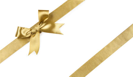 Beautiful bow gold color isolated on white background.