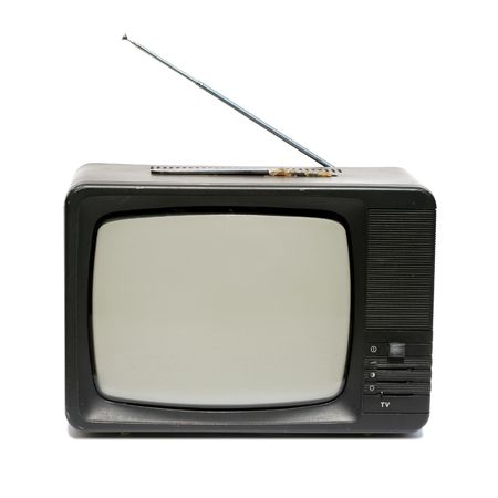 s video: Old portable television photo over white