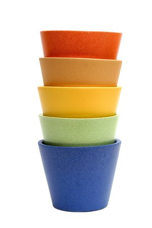 pot plant: Colorful pots, isolated