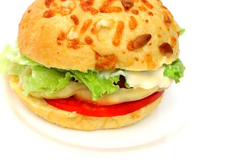 vegetarian hamburger: Healthy vegetarian hamburger with wholegrain bread and lot of fresh vegetables