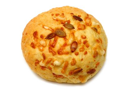 macrobiotic: Wholegrain bun with sunflower seeds and cheese Stock Photo