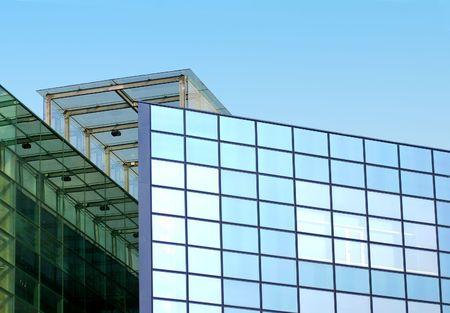 colo: Modern skyscraper and blue sky