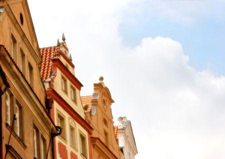 fachadas de casa: Cuatro casa fachadas detalle en Praga, suave filtro  Foto de archivo