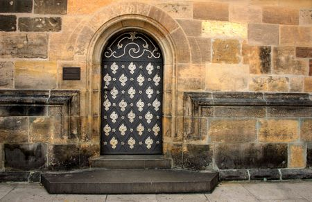 Side door of Cathedral of San Vito, Prague Stock Photo - 395914