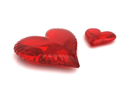 Couple of red hearts isolated on white photo