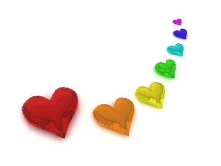 Rainbow of seven hearts on white background photo