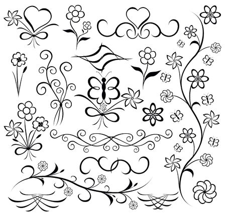 butterfly stroke: Elements for design (flower, butterfly, heart) Stock Photo
