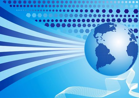 byte: World background, continents in dots Stock Photo