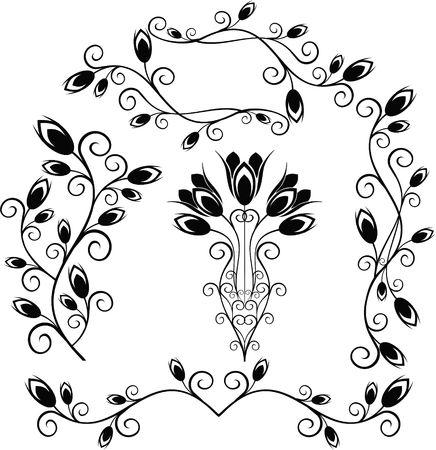 Elements for design (tulip, bud, vase, bouquet) Stock Photo