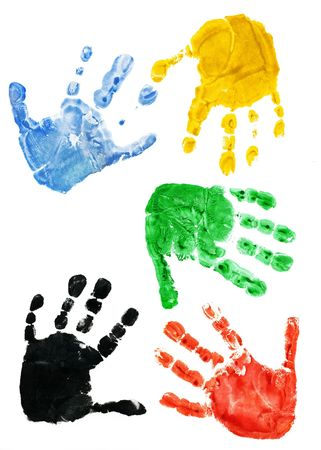 Prints of hands of the child, 2,5 years photo