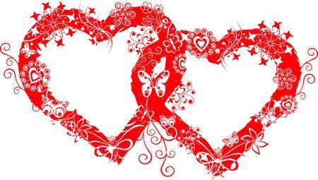 Grunge valentine frame, hearts Reklamní fotografie