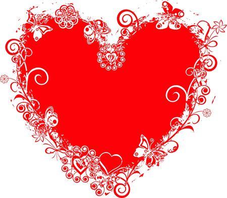 Grunge valentine frame, heart photo
