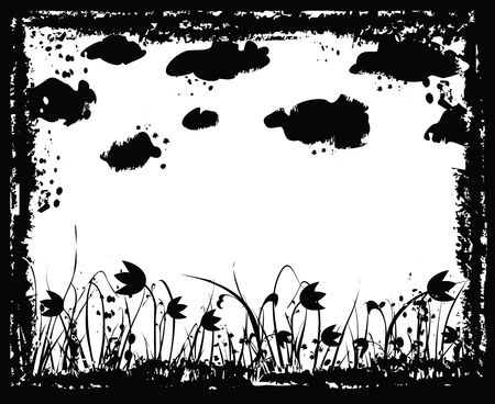 Grunge frame with flowers and clouds, vector