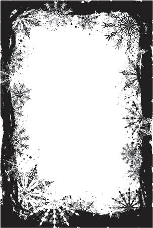 Grunge snowflakes frame, vector illustration Vector