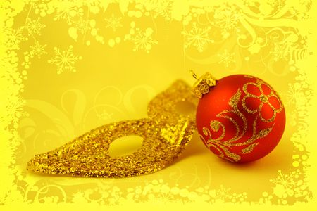 Christmas bauble on a yellow background Stock Photo - 666267