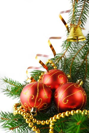 Christmas baubles on a white background