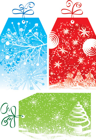 Christmas gift tags, with snowflakes and a christmas tree, vector illustration Stock Vector - 667200