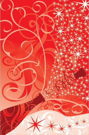 Christmas sparks of a champagne, vector illustration