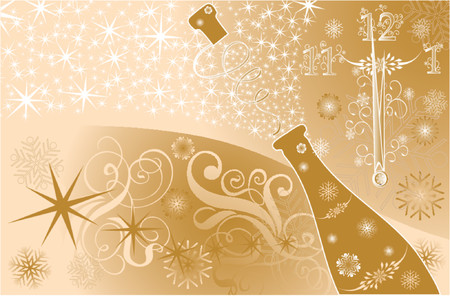 New years background with clock and sparks of a champagne, vector illustration